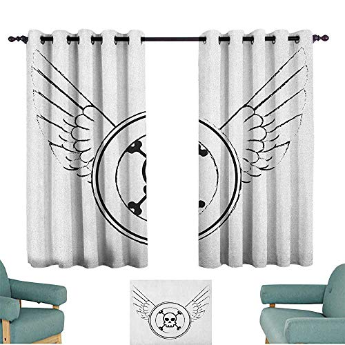 Skull Polyester Curtain Grungy Old Icon Stamp Design Skull Figure in Circle with Angel Wings Monochrome Home Garden Bedroom Outdoor Indoor Wall Decorations 55
