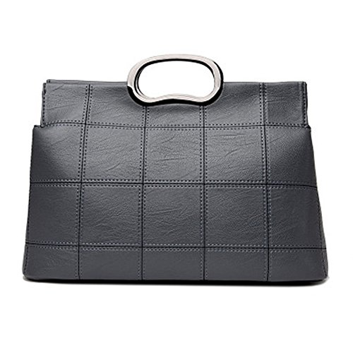 Bag Embroidered Face Lattice Grey Bag Leisure Shoulder Thread Bag Soft Women'S SJMMBB Satchel x0wPPH