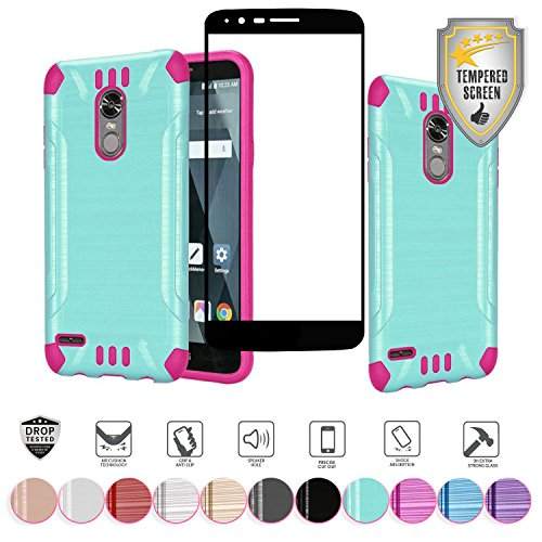 For LG Stylo 3 Stylo 3 Plus 2017 Metallic Brushed Shock Proof Slim Hybrid Cover Case with Full Edged Tempered Glass Screen Protector (Teal/Hot Pink)