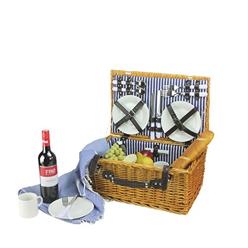 Northlight CH36831 Hand Woven Honey Willow Picnic Basket Set by Northlight