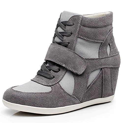 rismart Women's Wedge Casual Hook&Loop Fabric&Suede Leather Fashion Sneakers Dark Grey