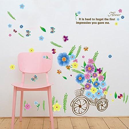 ELGDX Flor de Dibujos Animados Pegatinas de Pared de Bici Material ...
