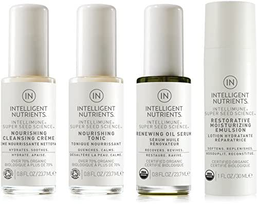 Intelligent Nutrients Combination & Dry Skin Care Travel Set - Organic Skin Care Set with Cleansing Creme, Nourishing Tonic, Renewing Oil Serum & Restorative Moisture Emulsion (Set of 4)