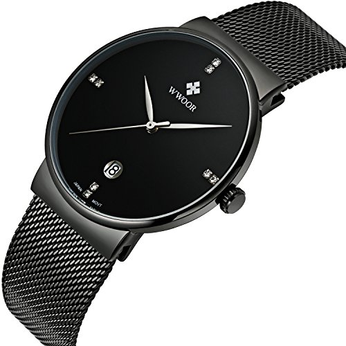 Tamlee Men Black Plated Slim Case Stainless Steel Waterproof Watch with Mesh Band (Black)