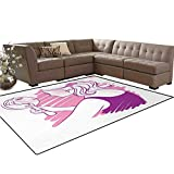 Zodiac Gemini,Carpet,Young Teenage Girl on Pink Looking at Herself in The Mirror,Indoor/Outdoor Area Rug,Purple Pale Pink and White,5'x6'