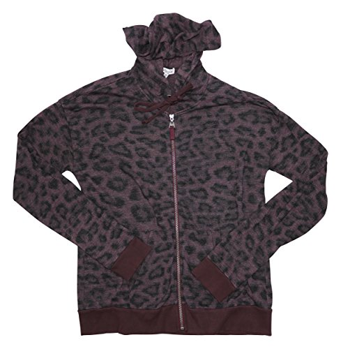 (Splendid Women's Leopard Print Fashion Hoodie Jacket (Medium, Vintage Aubergine))