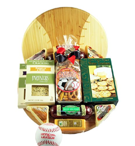 Meat and Cheese Gift Assortment on a Baseball Cutting Board