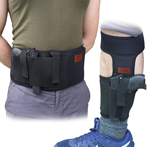 (Creatrill Bundle of Belly Band Holster + Ankle Holster For Concealed Carry, Neoprene Hand Gun Waist Band | Non Slip Ankle Pistol Holder with Calf Strap For Men Women)