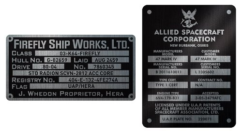 QMx Firefly Builder's Plaques Metalized Sticker Set