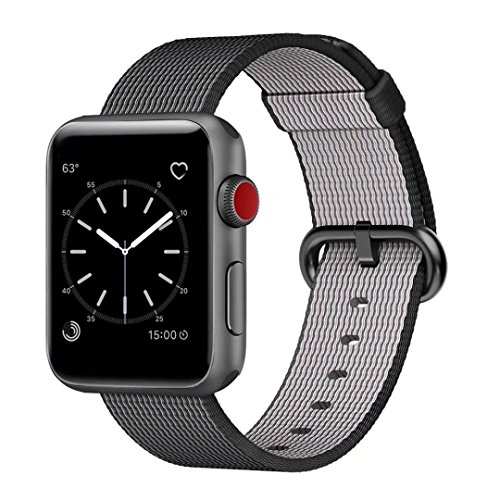 Smart Watch Band, Uitee Woven Nylon Band for Apple Watch 38mm Series 1 & 2, Uniquely and Artistically Designed Replacement Strap for iWatch, Best Comfortably Light With Fabric-Like Feel (Black)
