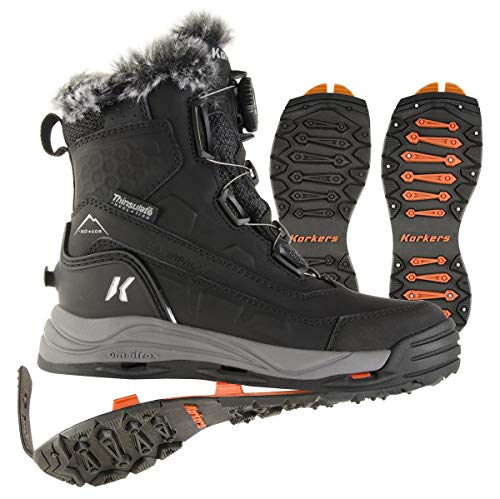 Korkers Women's Snowmageddon Waterproof Winter Boot with SnowTrac & IceTrac Soles (9.5, Black)