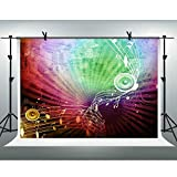 FHZON 10x7ft Music Staves Sound Backdrops for Photography Colorful Background Theme Party Video Studio Props LXFH355