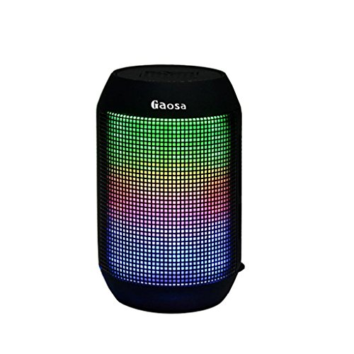 Portable Bluetooth Speaker by Gaosa, Superb Stereo Sound Quality, Enhanced Bass, Long Range Wireless Speaker, Lightweight, Wide Compatibility, Colorful LED Light Design, Micro SD Card Slot