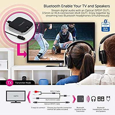 Aluratek ABC02F Bluetooth Audio Receiver and Transmitter, 2-in-1 Wireless 3.5mm, AUX, Optical Audio Adapter, Pairing with 2 Bluetooth Headphones Simultaneously in Transmitter Mode: Electronics