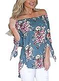 AlvaQ Women Chiffon Off Shoulder 3/4 Sleeve Cuffed Floral Print Tops (7 Colors, S-XXL)