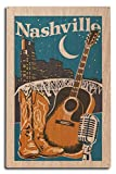 Lantern Press Nashville, Tennessee - Woodblock (10x15 Wood Wall Sign, Wall Decor Ready to Hang)