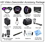 Ultimate HD Video Accessory Package For The Canon XA10 HD Camcorder. Includes 3 Piece Filter Kit, Wide Angle Lens, Telephoto Lens, 4 Piece Macro Close Up Set, Soft Carrying Case, Full Size Tripod, Canon BP828 Replacement Battery, Rapid Travel Charger, Vid