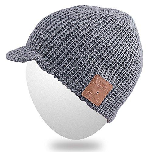 Gorro del oído auricular Bluetooth del Mydeal auricular suave del Gorrita caliente hilos Sombrero sombrero la Bluetooth Mic adulta moda gorrita cubiertas del del con unisex de tejida de Gris BB017 alta del Gorra prwUrWxd