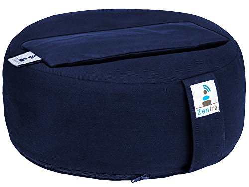 Zentra Zafu Yoga MEDITATION CUSHION with BONUS EYE PILLOW - Buckwheat Hull - 100% Natural Cotton Cover - 13x5 Inches (Navy Blue)