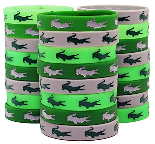 Alligator Party Favors - Gypsy Jade's Crocodile Party Silicone Wristbands - Great Alligator Party Supplies (24 Pack)