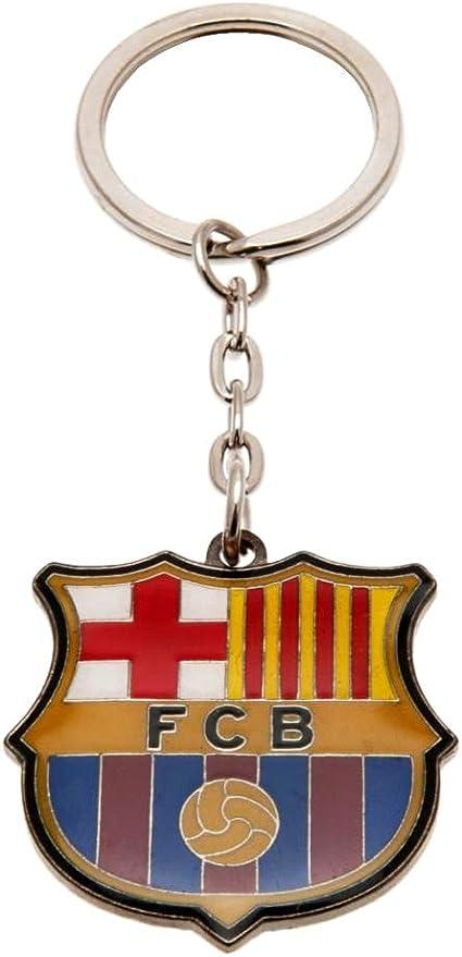 Llavero de metal brillante con dise/ño del FC Barcelona