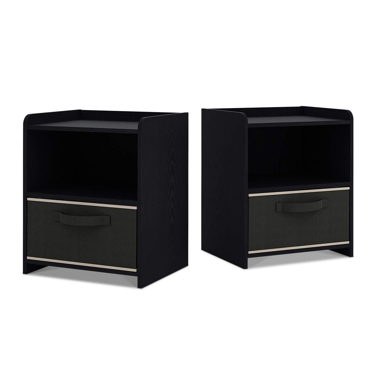 DEVAISE 2-Shelf Nightstand, Cute Bedside with Drawer, Set of 2, Black