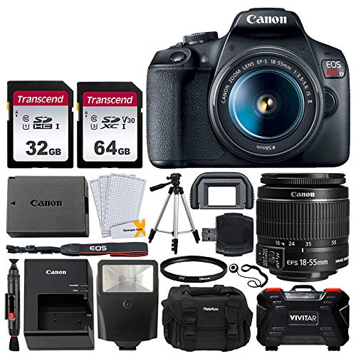 "Canon EOS Rebel T7 DSLR Camera + EF-S 18-55mm f/3.5-5.6 is II + 32GB & 64GB Memory Card + Photo4less DC59 Case + 60"" Tripod + Slave Flash + Vivitar Memory Card Hardcase (24 Card Slots) + UV Filter"