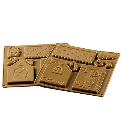 Erduo Molde de Chocolate de la casa de Santa Ginger Panadería Molde de Silicona Fondant Decoración