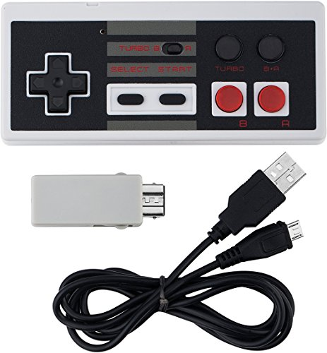Wireless NES Mini Classic Rechargeable Controller,NES Wireless Gamepad for Nintendo Mini NES Classic Edition, Wireless Joypad & Gamepads Controller (2 Pack) by Kyerivs (Image #4)