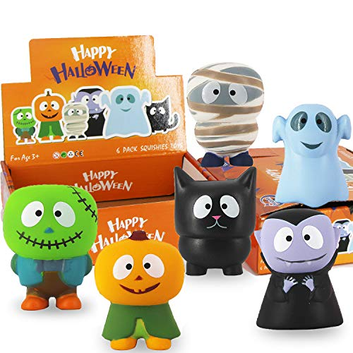 Small Halloween Gifts (heytech 6 Packs Halloween Squishies Toys Slow Rising: Gift Box Includes Spooky, Pumpkin, Zombie,Black Cat,Mummy, Vampire Soft Squishy Toys Great Sensory Toys for)
