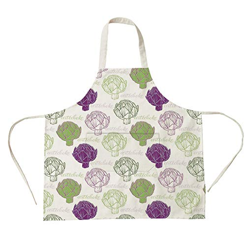 3D Printed Cotton Linen Big Pocket Apron,Artichoke,Sketch Style Vegetables Hand Drawn Style Exotic Tasty Healthy Food Decorative,Lime Green and Purple,for Cooking Baking Gardening for $<!--$16.99-->