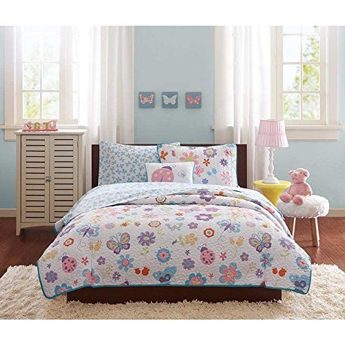 6pc Kids Girls Pink Purple Blue Yellow White Twin Coverlet/ Sheet Set, Polyester, Garden Themed Bedding Flower Floral Butterfly Lady Bug Cute Adorable Stylish Sweet Pretty Elegant - Sheet Blue Set Bug