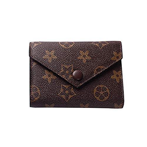 Leegoal Women's Checkered Short Pattern Monogram Canvas Wallet Mini Flower Designer Purse Coin Purse