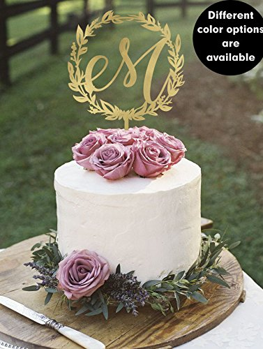 amazon com letter m monogram wedding cake topper gold monogram