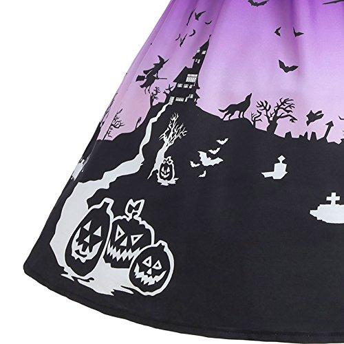 Halloween Kleid Modern Abendkleid Ibaste Vintage 3d Faltenrock Damen Druck Cocktailkleid Spitzenkleid Violett Retro Schulterfrei