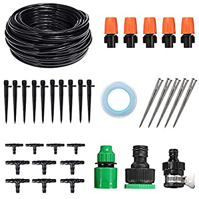 Chutsang Drip Irrigation System Kit?50ft Distribution Tubing Hose Plant Watering Irrigation Accessories Atomizing Nozzle Mister Dripper 1/4-Inch