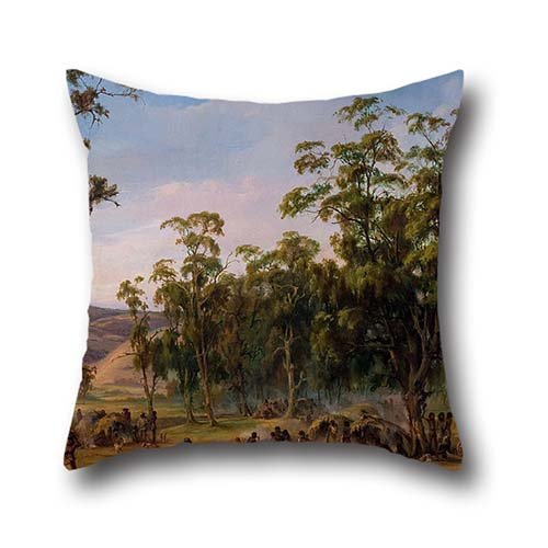 The Oil Painting Alexander Schramm - An Aboriginal Encampment, Near The Adelaide Foothills Pillow Shams Of ,20 X 20 Inch / 50 By 50 Cm Decoration,gift For Club,outdoor,drawing Room,dance Room,bf,chai ()