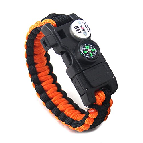 X-It Strategy 23 in 1 Survival Paracord Bracelet, Gear Kit with SOS LED Light, Emergency Knife, Whistle, Compass, Fire Starter, Waterproof, Fishing Hook and Storage (Blue/Orange)