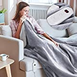 HOKEKI Electric Blanket Throw, Fast Heating Blanket Full Size with 3 Hours Auto Off & 6 Heat Settings, Flannel & Sherpa Reversible Heated Bed Comforter with ETL Certification Machine Washable