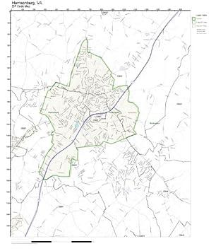 Amazon Com Zip Code Wall Map Of Harrisonburg Va Zip Code Map