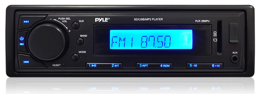 Car Stereo Head Unit Receiver - Premium AM/FM-MPX Media Radio with MP3 Playback, Aux Input, LCD Display & Preset Station Memory - Perfect for Automobile & Marine Vehicle Use - Pyle PLR26MPU