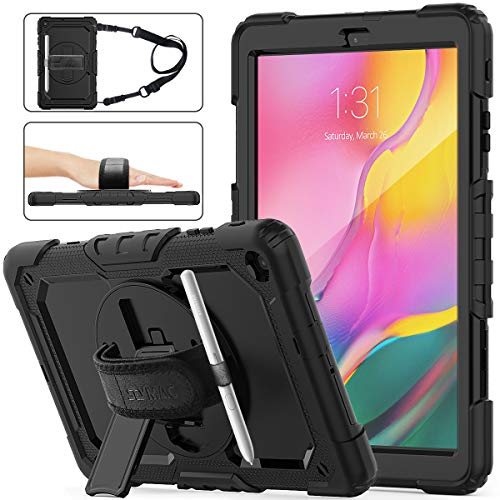 SEYMAC Stock Samsung Galaxy Tab A 10.1 T510/T515 Case 2019, Three Layer Hybrid Drop Protection Case with [360 Rotating Stand] Hand Strap [Stylus Pencil Holder] for Samsung Galaxy Tab A 10.1 (Black) reviews