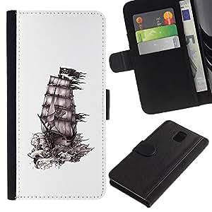 KingStore / Leather Etui en cuir / Samsung Galaxy Note 3 III / Dessin Pirate des Caraïbes Sails