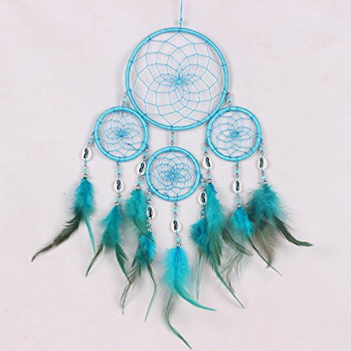 Robiear New Dream Catcher Circular Net With Feathers Wall Hanging Decoration Decor Ornament Handmade Craft Gift (Blue)