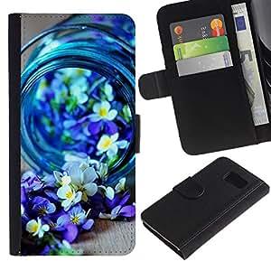 iKiki Tech / Cartera Funda Carcasa - Blue Spring Blooming Nature Purple - Samsung Galaxy S6 SM-G920