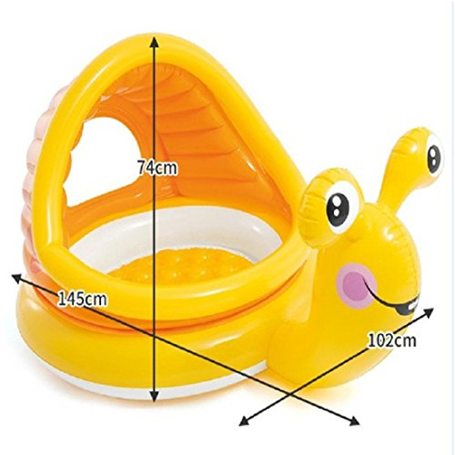 Toddler Paddling Pool with Canopy Sun Shade Swimming Inflatable Pool Anti UV Snail Shape (124x109x7cm) (Multicolor) by JPOQW (Image #4)