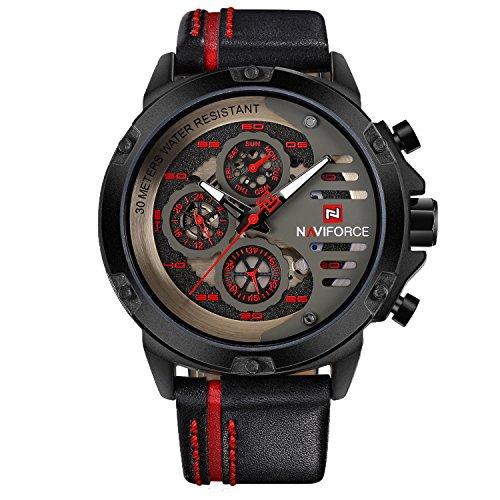 (Sport Military Watches for Men Waterproof Watch Analog Quartz Leather Band Date Calendar Clock Wristwatch)