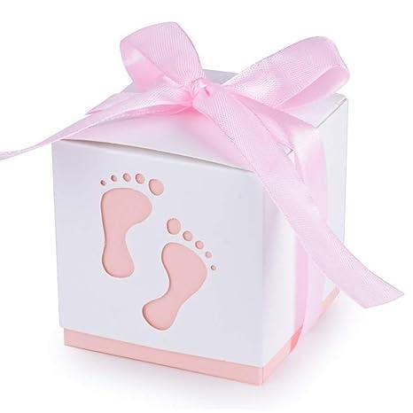 rosa Gastgeschenk Taufe Geburt  Baby Geschenkbox mit Punkte 5,2 cm 50 Stk