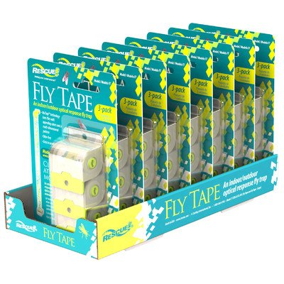 Rescue FT3 Disposable Fly Tape with VisiLure Technology, Optical Response Fly Trap Catches Common Nuisance/Filth Flies, Fast Action Odor/Pesticide-Free, Made in USA (3 Rolls x Pack of 8) by Sterling Rescue