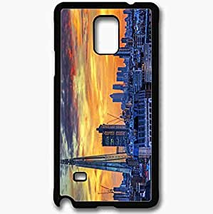 Unique Design Fashion Protective Back Cover For Samsung Galaxy Note 4 Case London Changing Skyline Black
